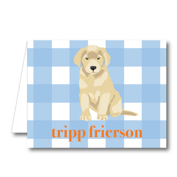 Blue Puppy Folded Notecard