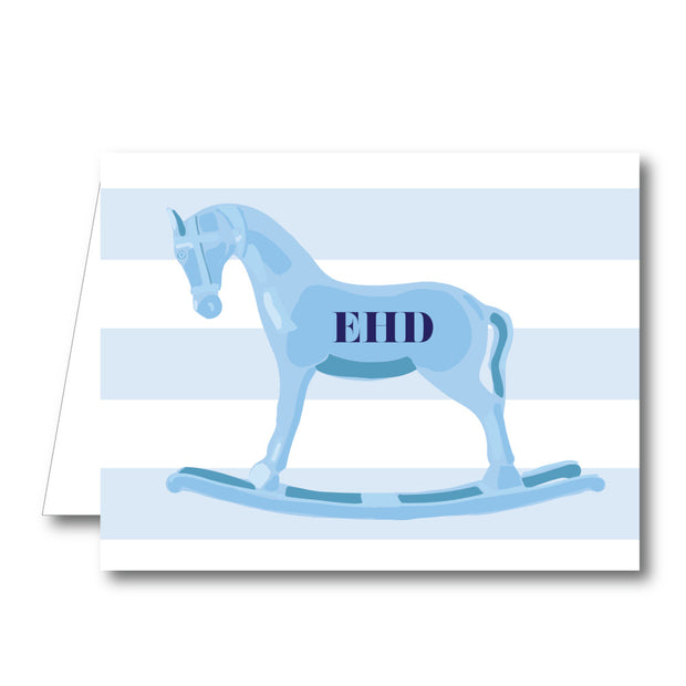 Blue Rocking Horse Folded Notecard