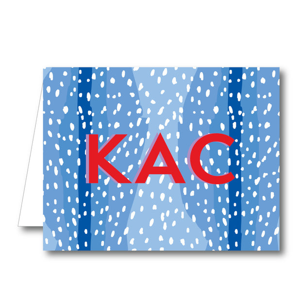 Blue Spotty Folded Notecard