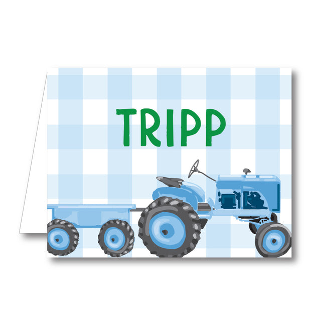 Blue Tractor Folded Notecard