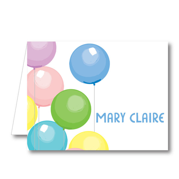 Multi Balloons Folded Notecard