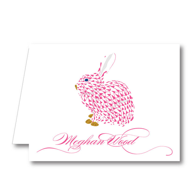 Pink Bunny Folded Notecard