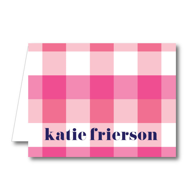 Pink Check Folded Notecard