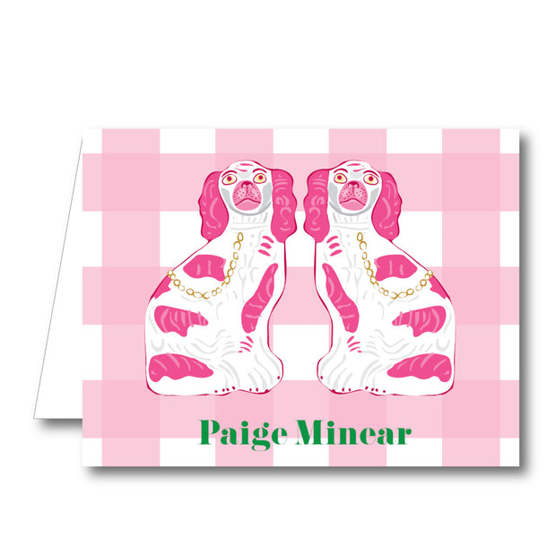 Pink Foo Dog Folded Notecard