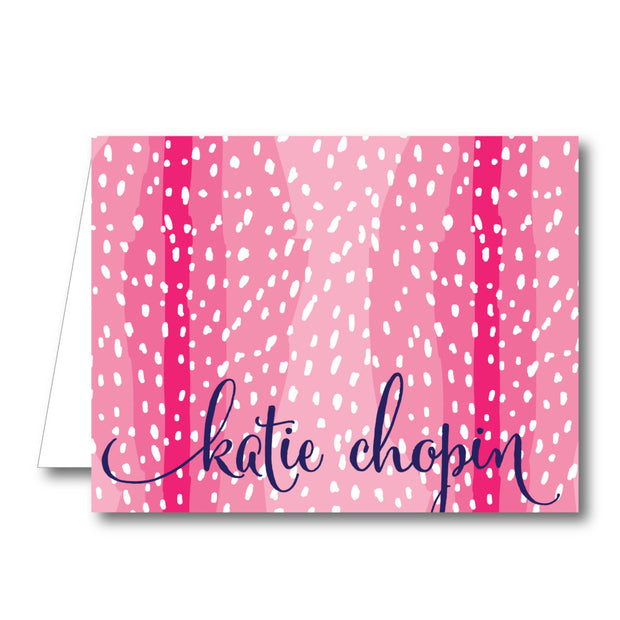 Pink Spotty Folded Notecard