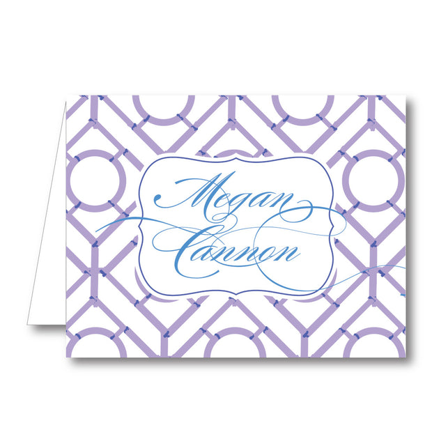Purple Trellis Folded Notecard