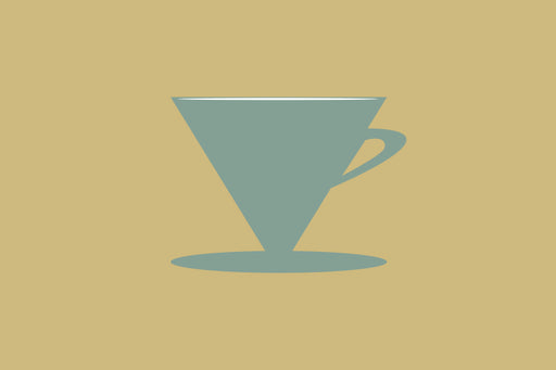 Ceramic, metal, plastic, and glass cone shaped drippers in various colors laying and standing on an orange backdrop