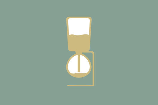 Metal and black rubber handles holding glass coffee syphon brewers