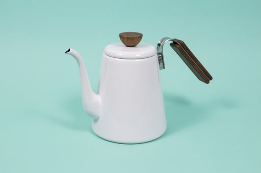 White enamel gooseneck kettle with wood lid knob and handle.