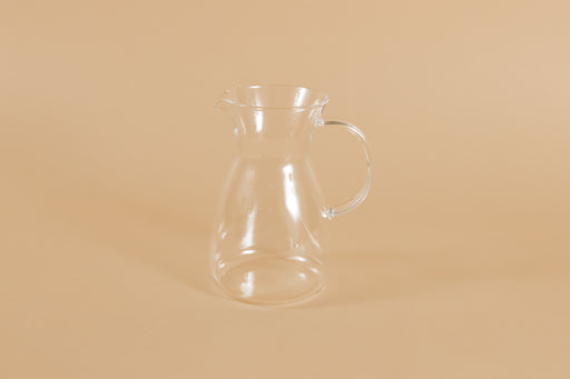 Short all glass coffee decanter with handle and hourglass curve