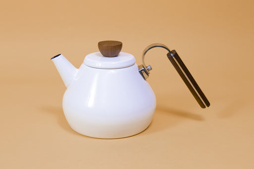 White enamel teal kettle and lid with wood lid knob and handle