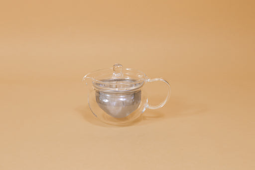 All glass round tea pot with flared top, all glass lid and handle, Metal mesh filter basket insert