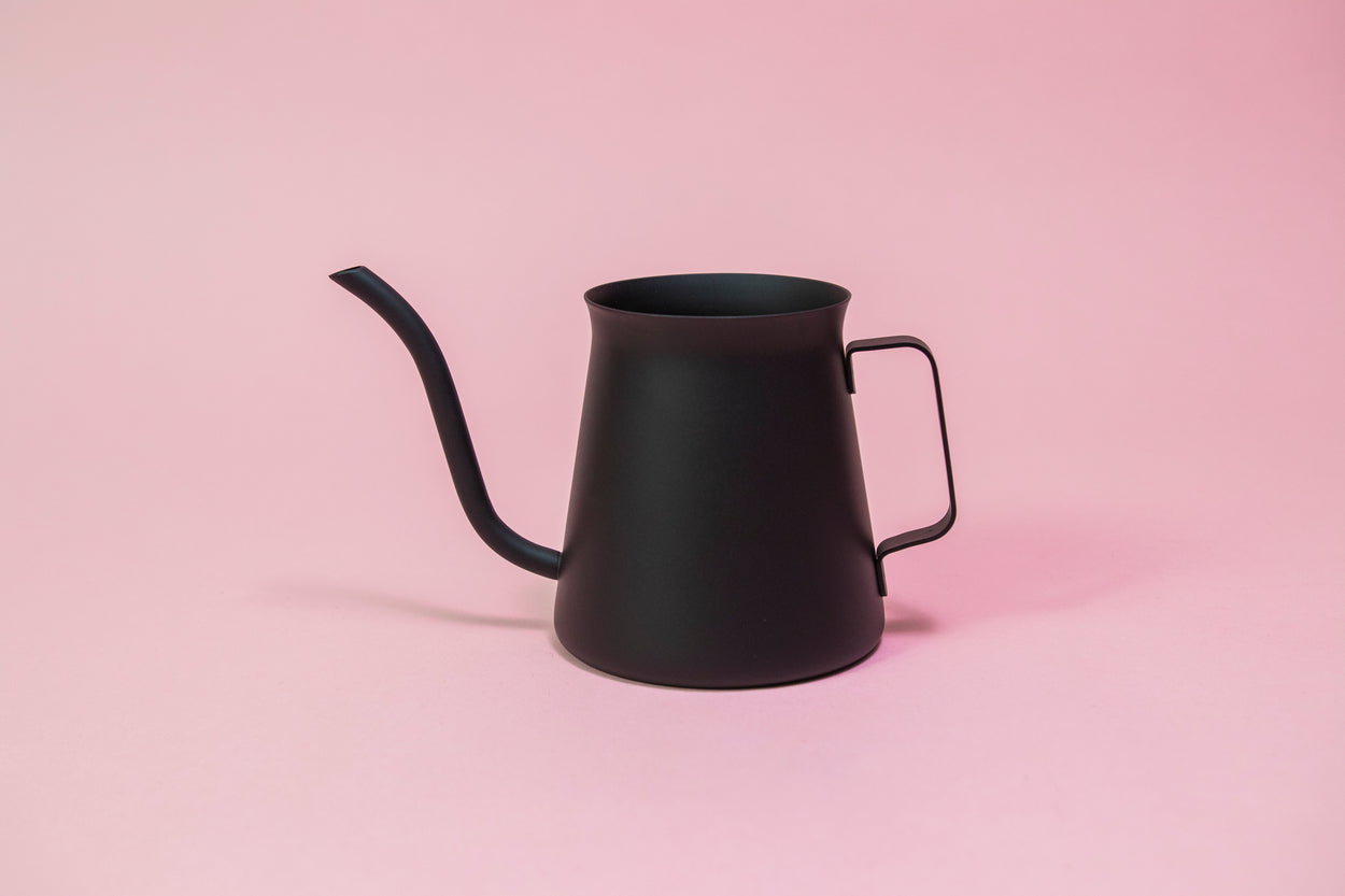 All black metal kettle with flared top, gooseneck, and handle