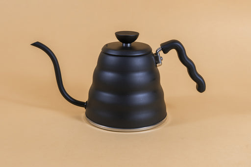 Matte black metal gooseneck kettle and matching lid with plastic knob and black plastic covered handle