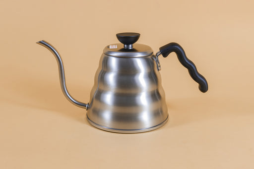 Stainless steel gooseneck kettle and matching lid with plastic knob and black plastic covered handle