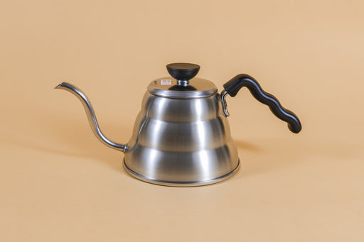 Short stainless steel gooseneck kettle and matching lid with plastic knob and black plastic covered handle