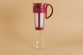 Tall glass server with white nylon mesh coffee filter insert and Red plastic handle and lid