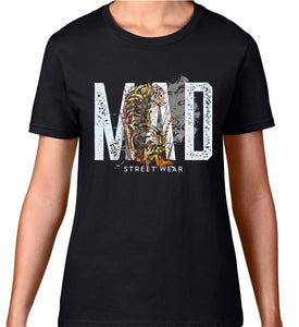 MAD STREET WEAR - ROUGH BRUSHED/ Grey Logo & TIGER IN COLOUR - WOMEN'S TEE