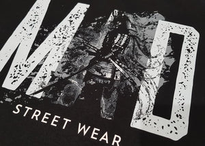 MAD STREET WEAR - ROUGH BRUSHED/ Grey Logo & SAMURAI - MEN'S TEE
