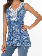 Printed V-Neck Lace Panel Sleeveless Tank&Camisole