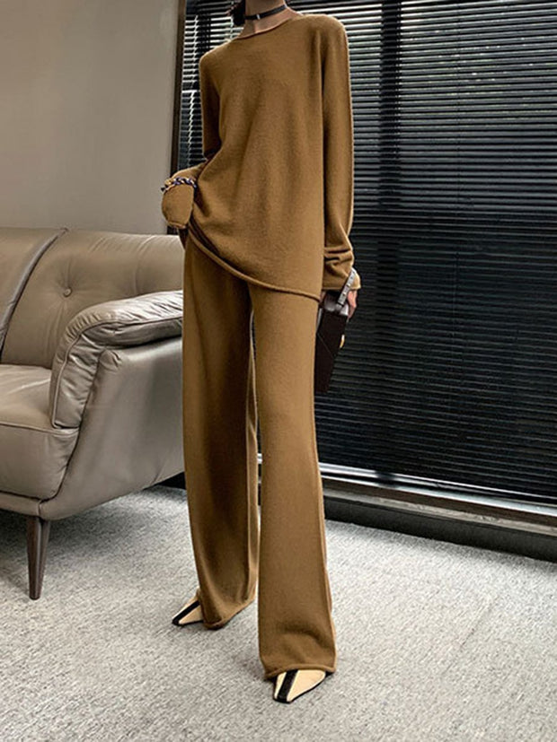 Fashion round neck cashmere suit