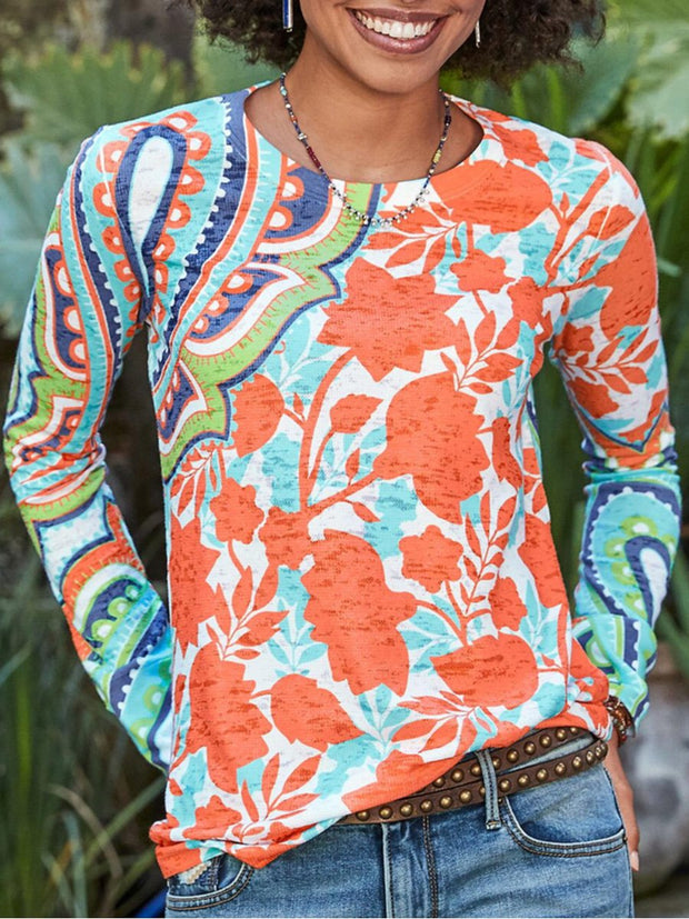 Fashion Print Round Neck Long Sleeve Top