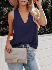 Casual V-Neck Sling Solid Color Wild Tank&Camisole