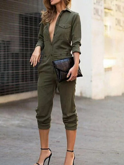 Sexy Solid Color Long Sleeve Shirt Jumpsuit
