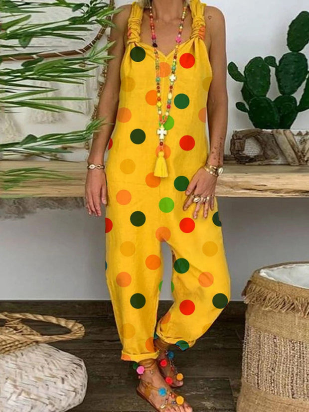 Loose Casual Comfortable Colorful Polka Dot Jumpsuit