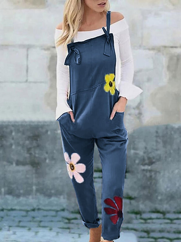 Women's Fashion Cotton Printed Slim Casual Jumpsuit