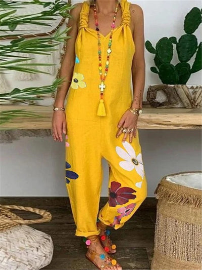 Bohemian Casual Loose Floral Jumpsuit