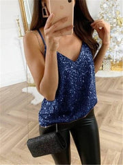 Deep V-Neck Tops Bronzing Sling Casual Sexy Vest