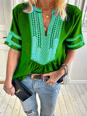 Vintage Bohemian Loose Casual V Neck Top