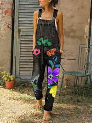 Women Vintage Floral Print Denim Pockets Jumpsuit