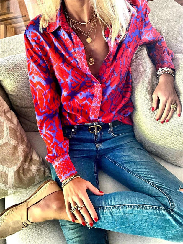 Fashion Vintage Elegant Loose Floral Shirt Top