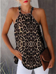 Shoulderless Hanging Neck Sleeveless Leopard Top Loose Tank Camisole