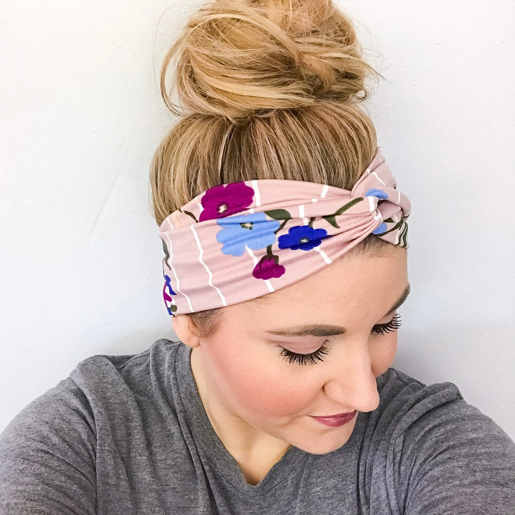 Blush pink headband for women with stripes and flowers