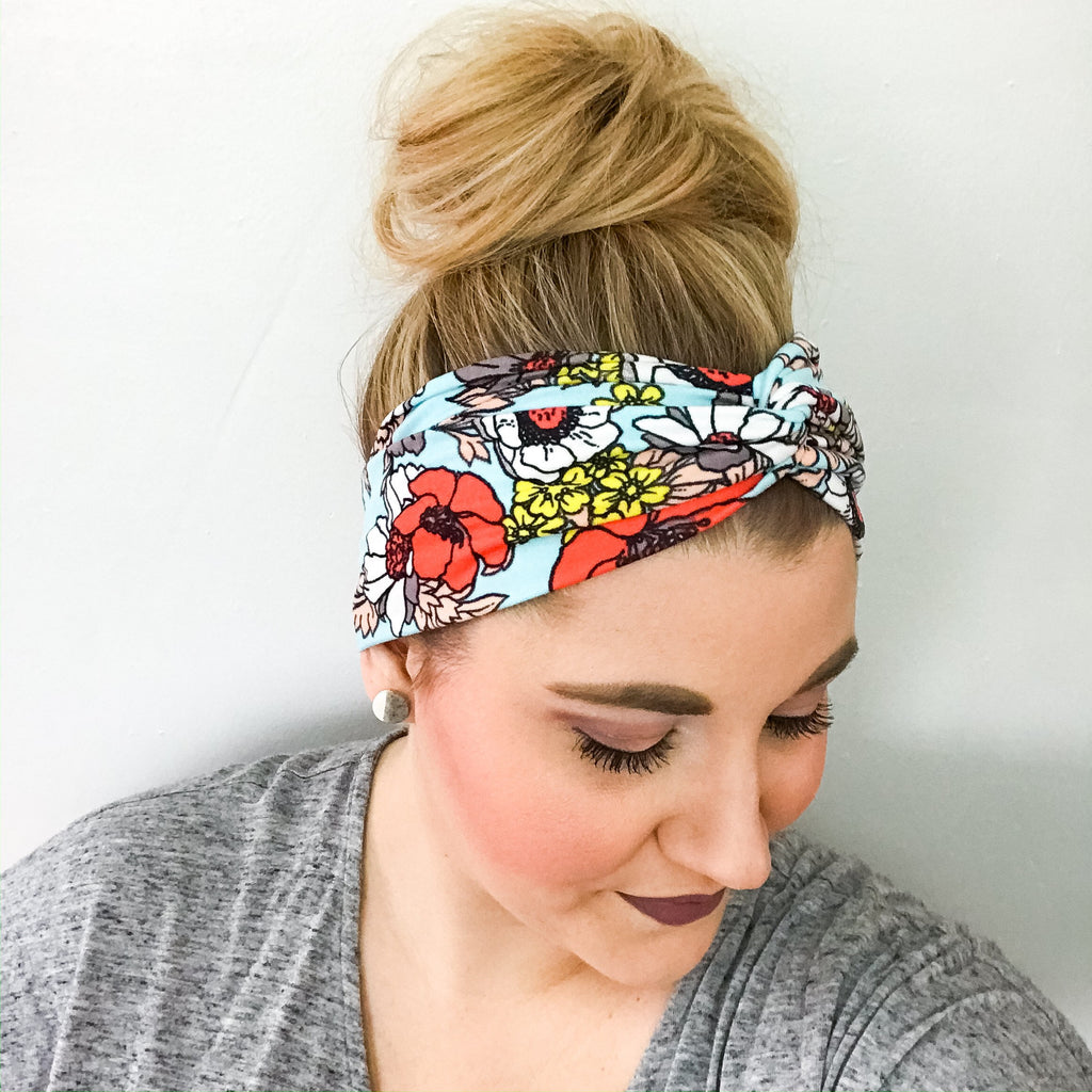Light Blue Poppy Turban Headband for Women