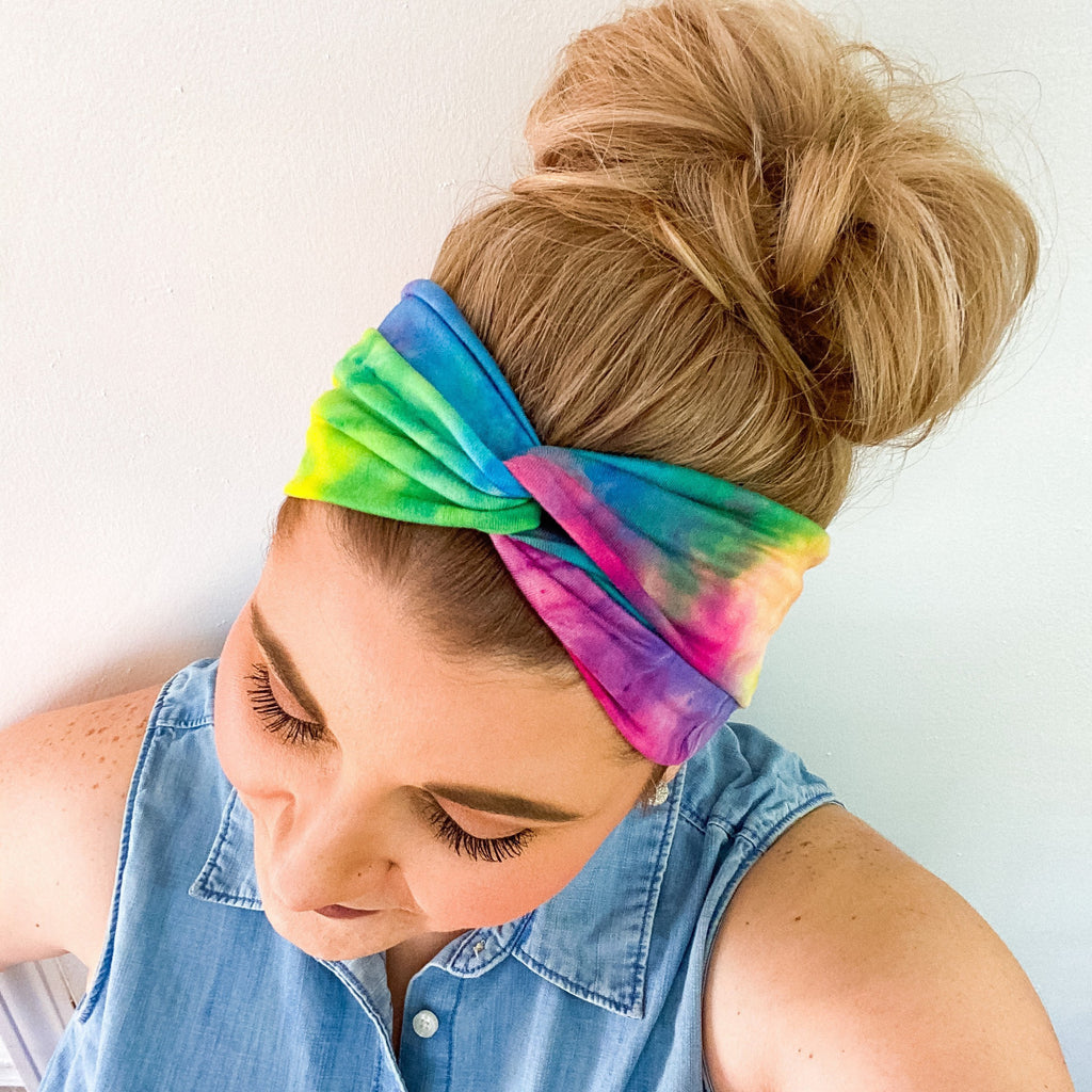 Rainbow Tie Dye Twist Turban Headband