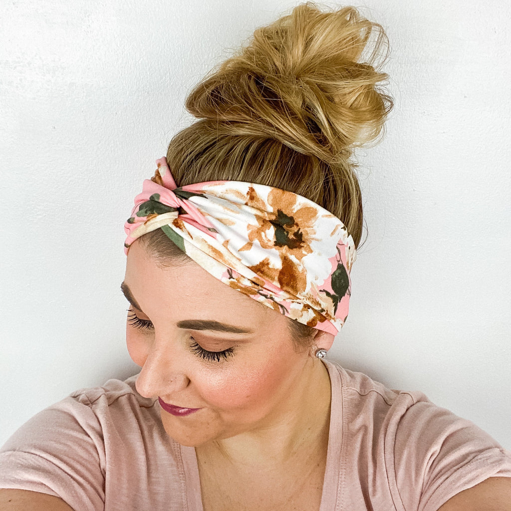 Peach & Beige Floral Turban Headband