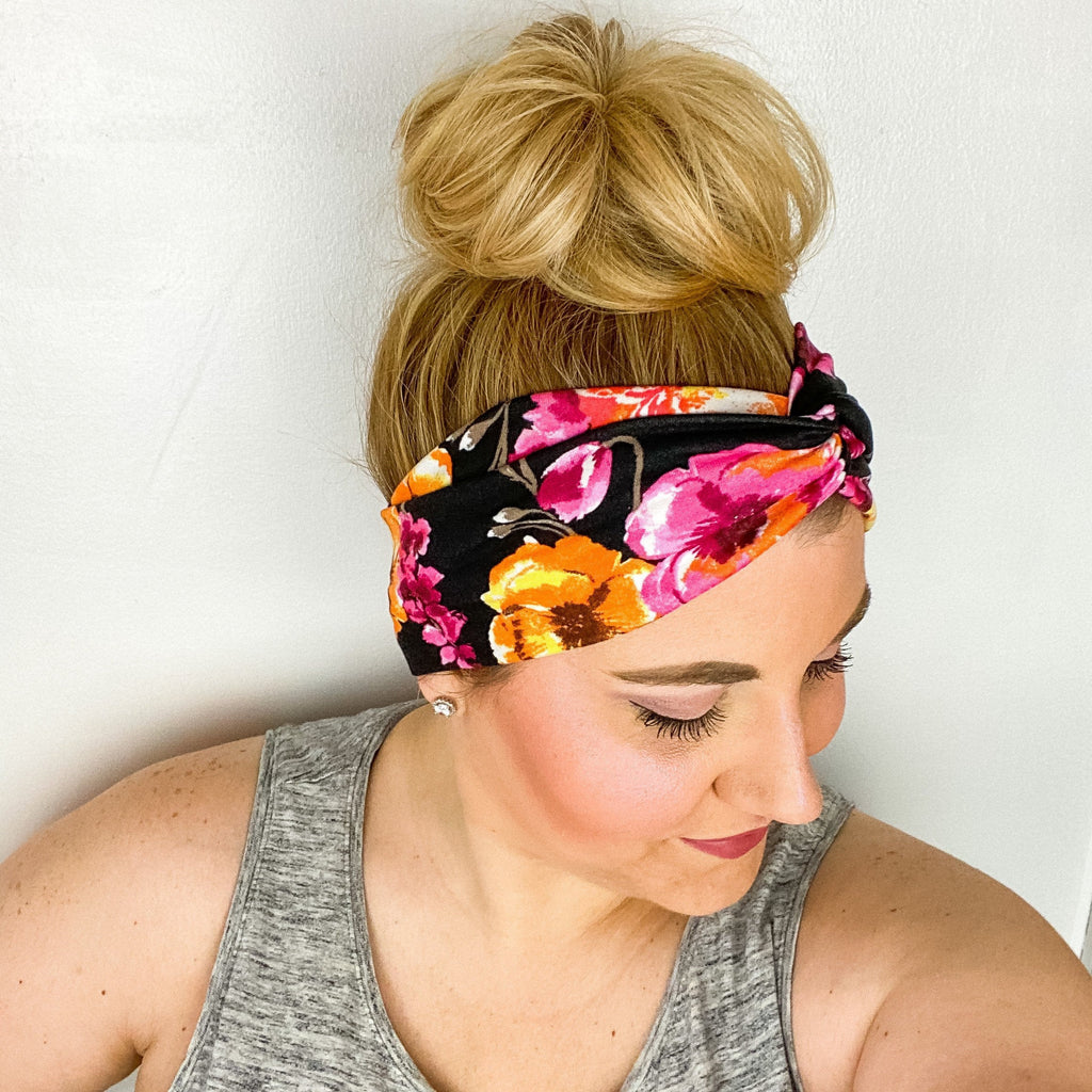 Black Pink Orange Floral Turban Headband