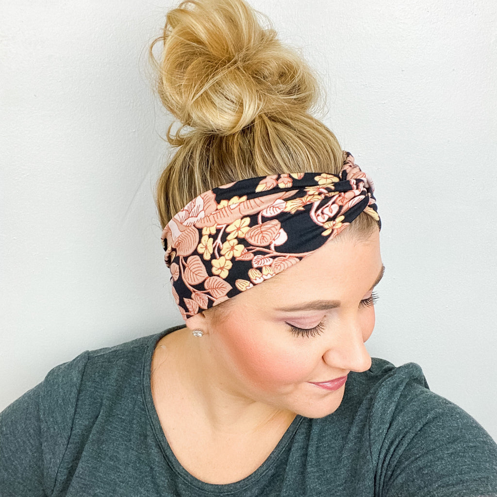 Black Beige Floral Turban Headband
