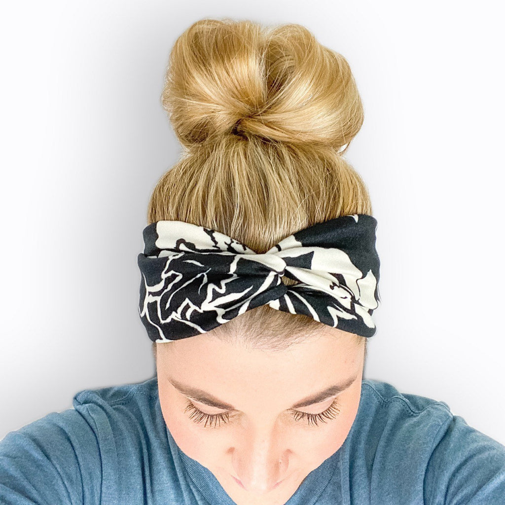 Monochrome Floral Turban Headband - Black and Ivory