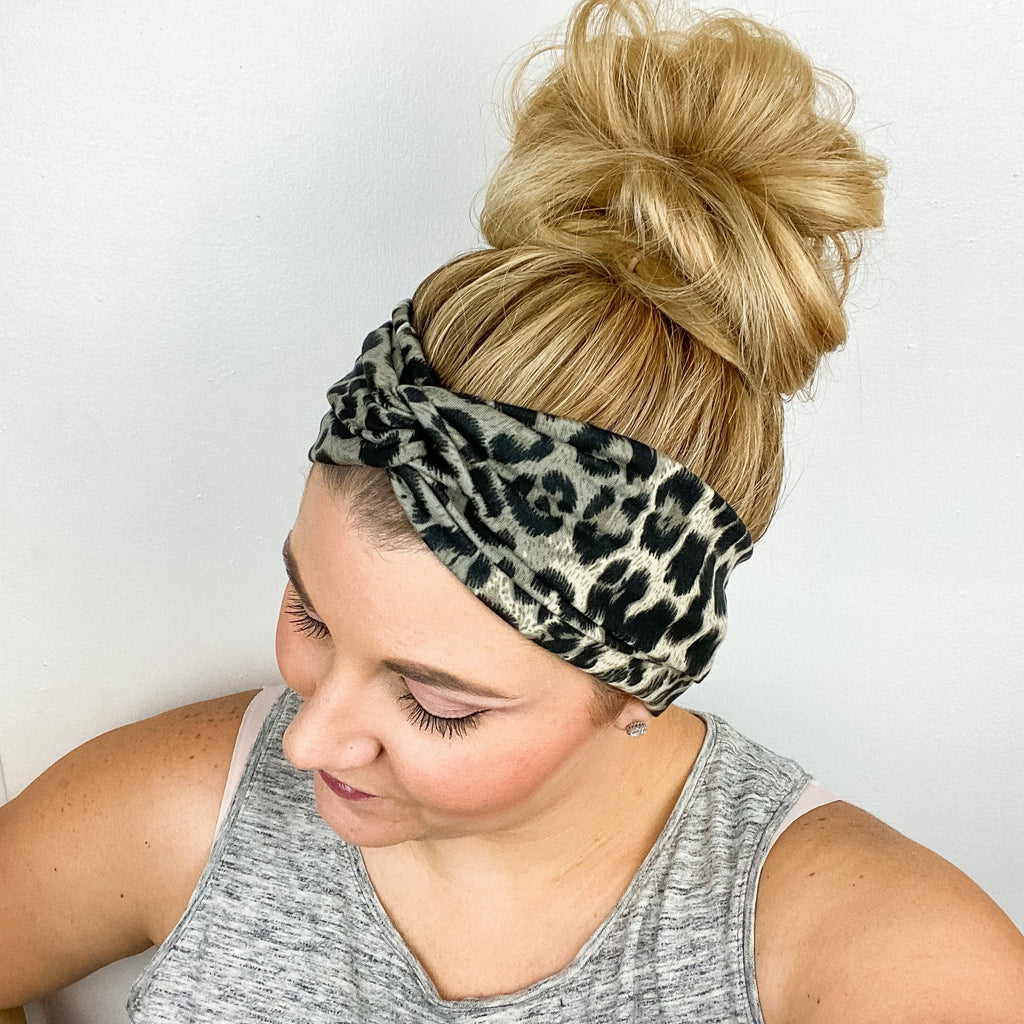 Gray Taupe Leopard Turban Headband