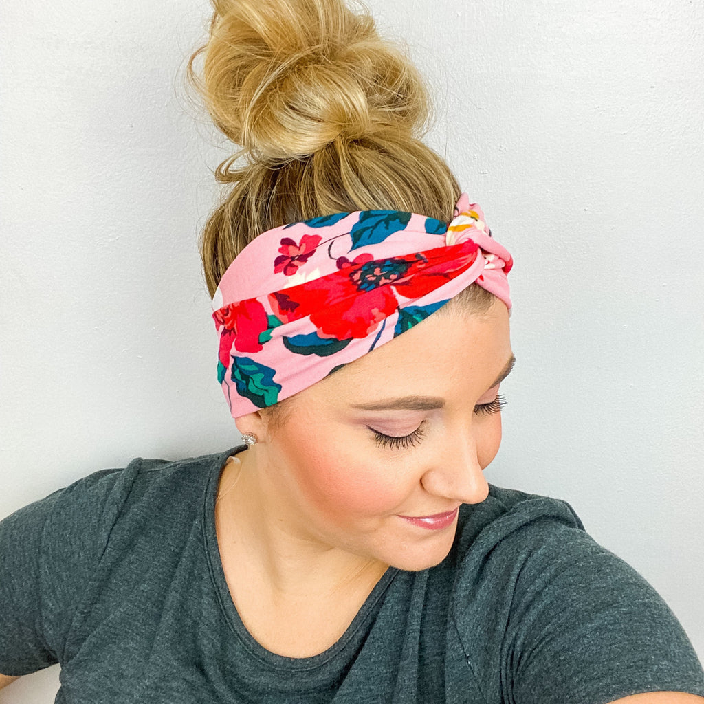 Pink and Red Floral Turban Headband