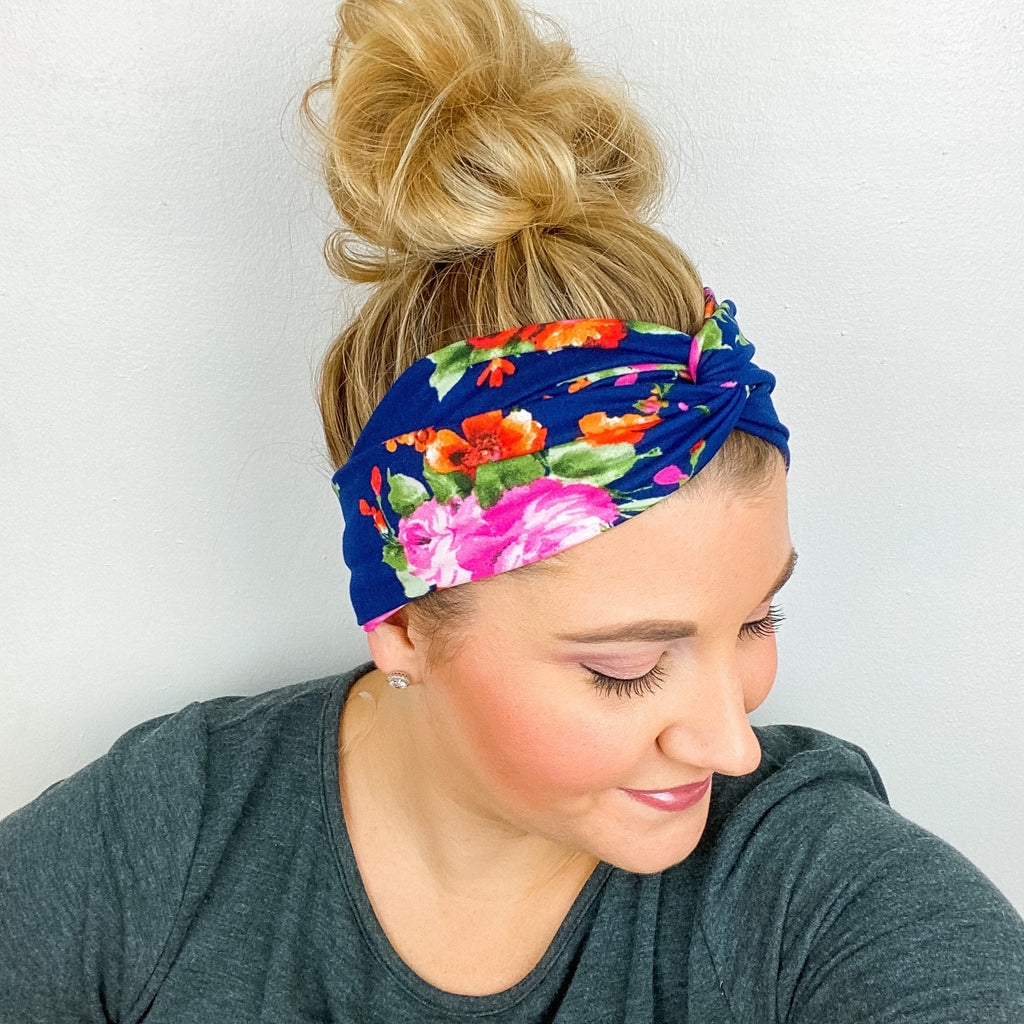 Navy Pink Orange Floral Turban Headband