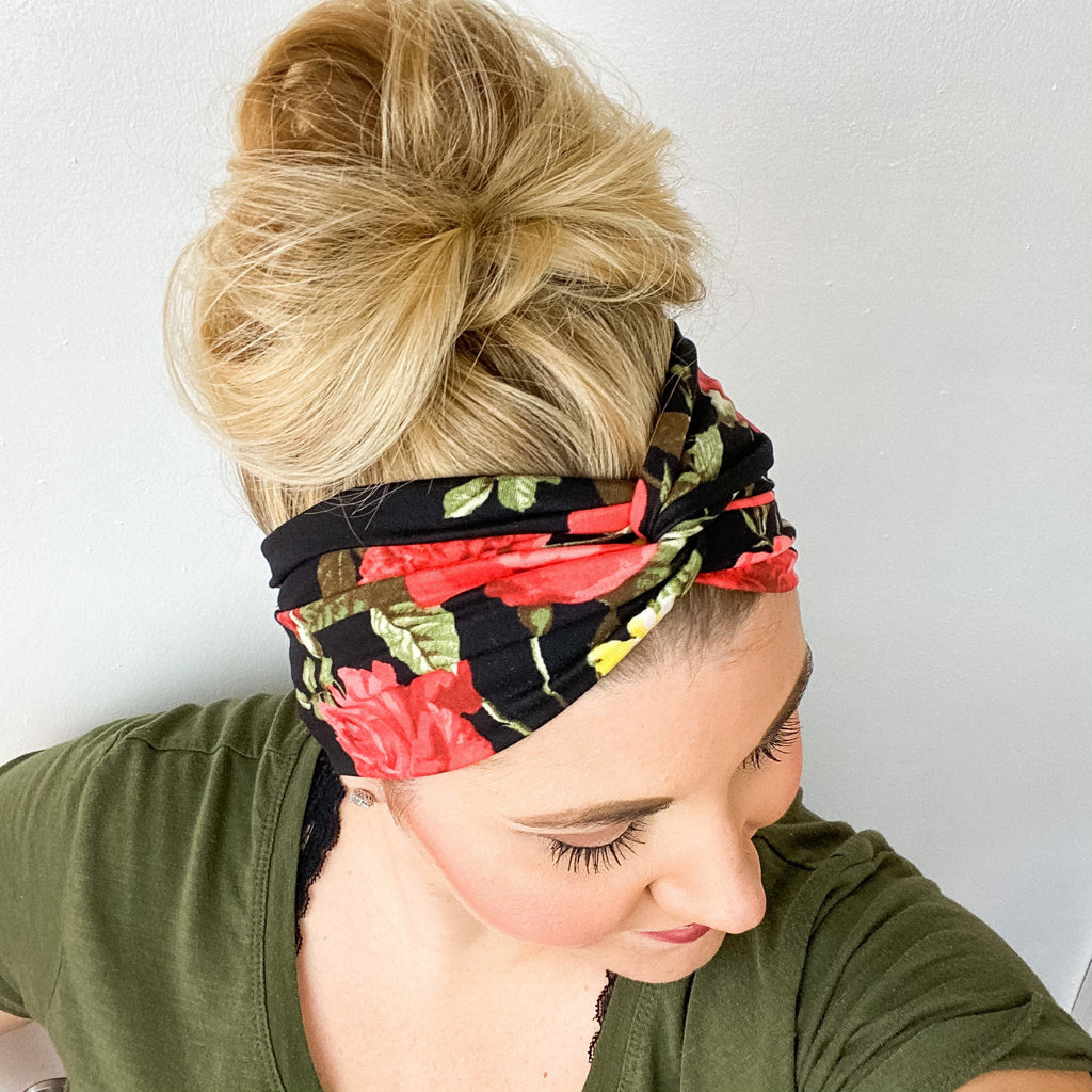 Black Red Floral Turban Headband
