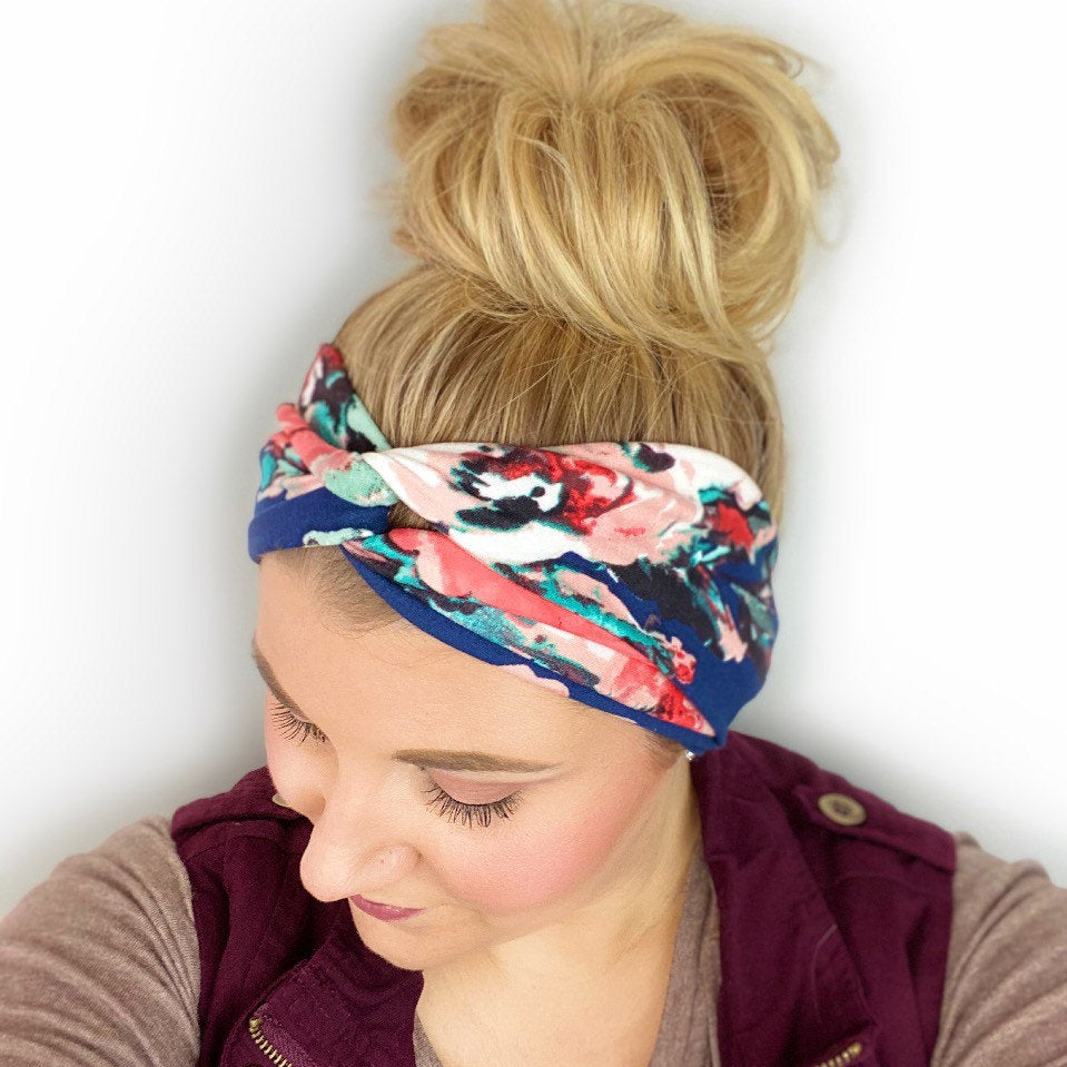 Navy Blue Headband for women with floral print