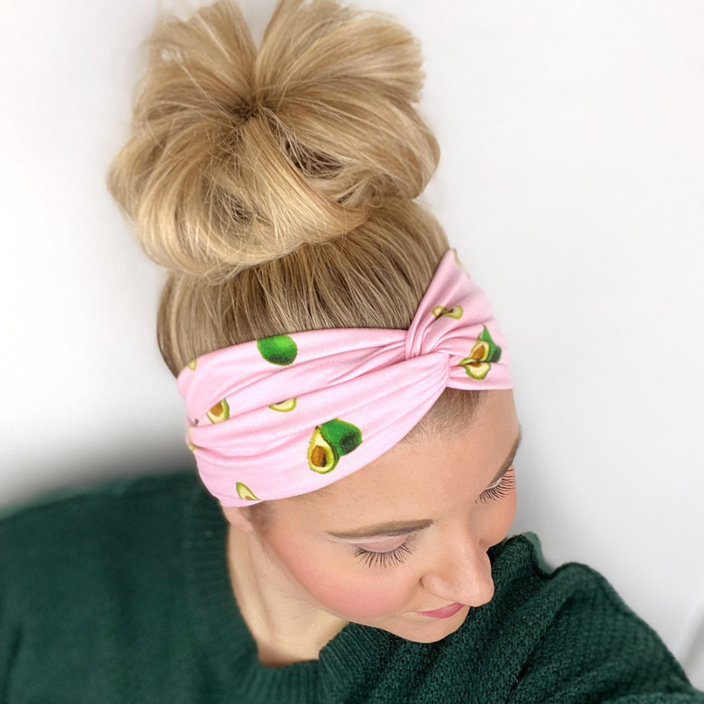Pink Women's Headband with Avocado Print