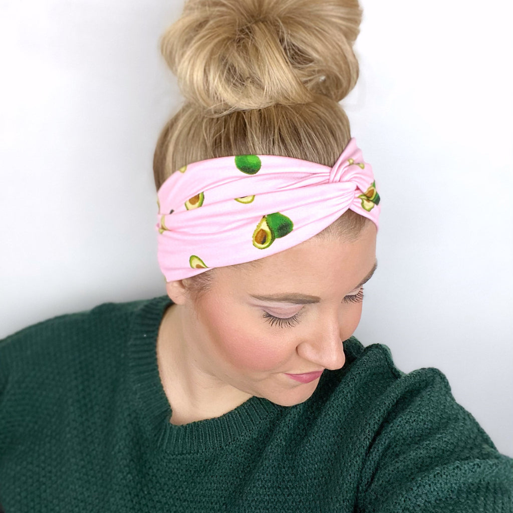 Pink Avocado Twist Turban Headband